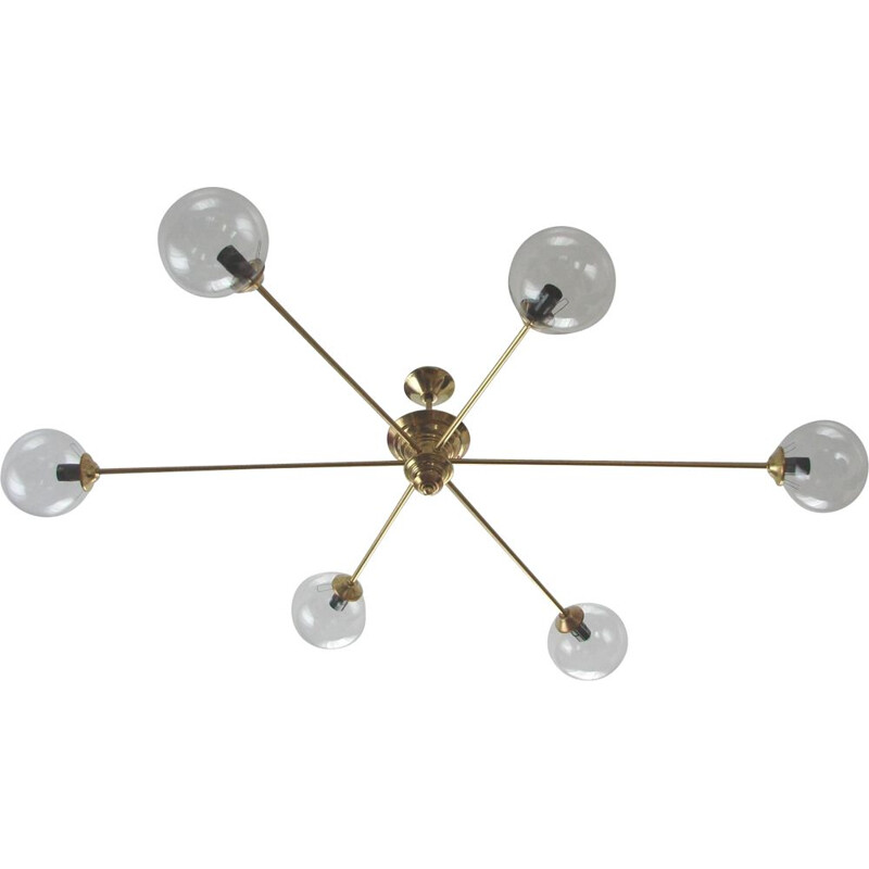 Vitange chandelier,  brass and glass 1960s