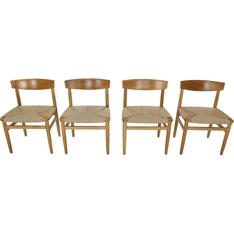 Set of 4 vintage dining room chairs Børge Mogensen Sweden 1950s