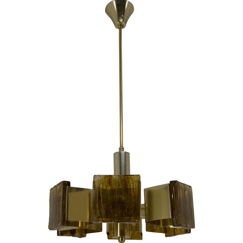 Mid-Century Brass and Resin Chandelier, 1960s