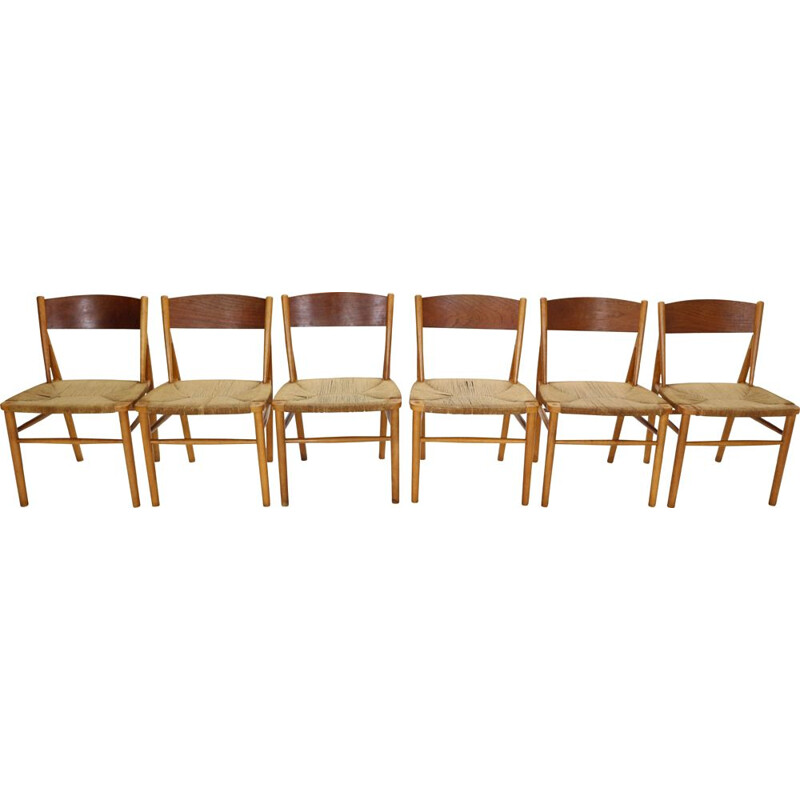 Set of 6 vintage Dinning Room Chairs 'Model 157' Børge Mogensen for Søborg Møbler, 1950