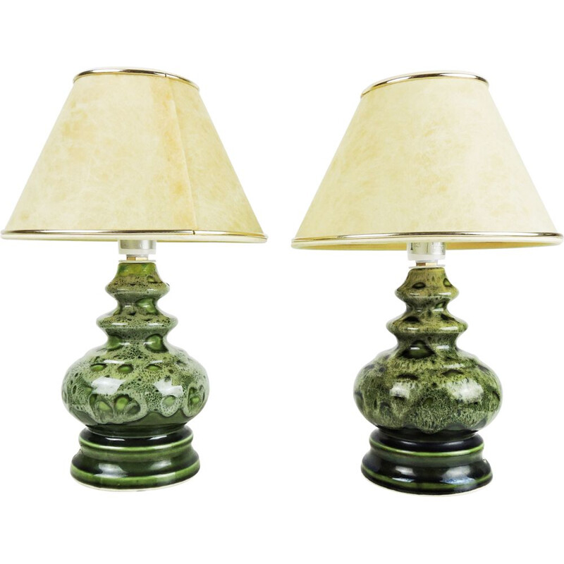 Pair of vintage Green Ceramic Table Lamps, 1970s