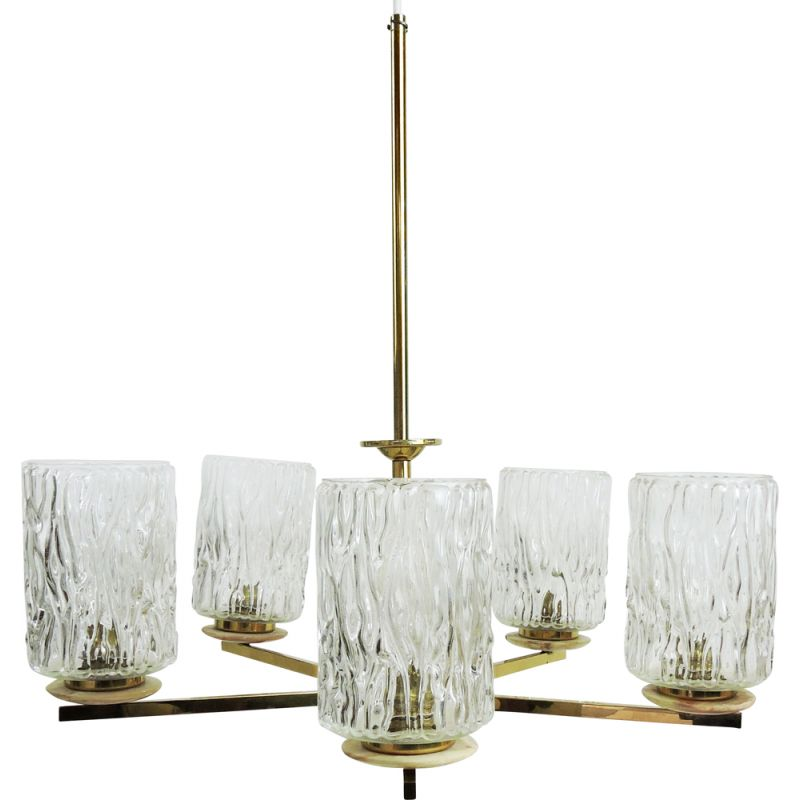 Vintage Glass Brass and Marble 5 Arm Chandelier 1960s