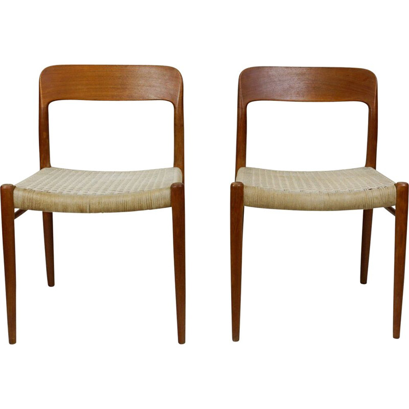 Pair of vintage Teak Dining Chairs by N. O. Moller 1960s