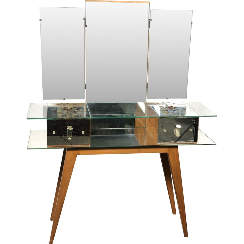 Vintage mirror and wood dressing table 1950s