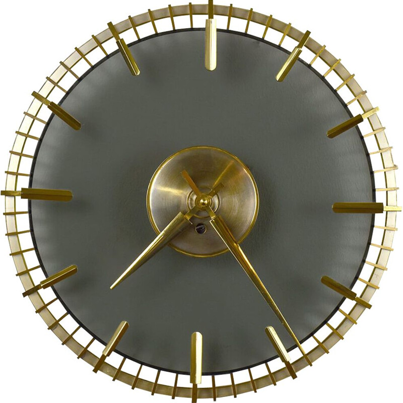 Vintage Wall Clock by Glass and Brass 1950s