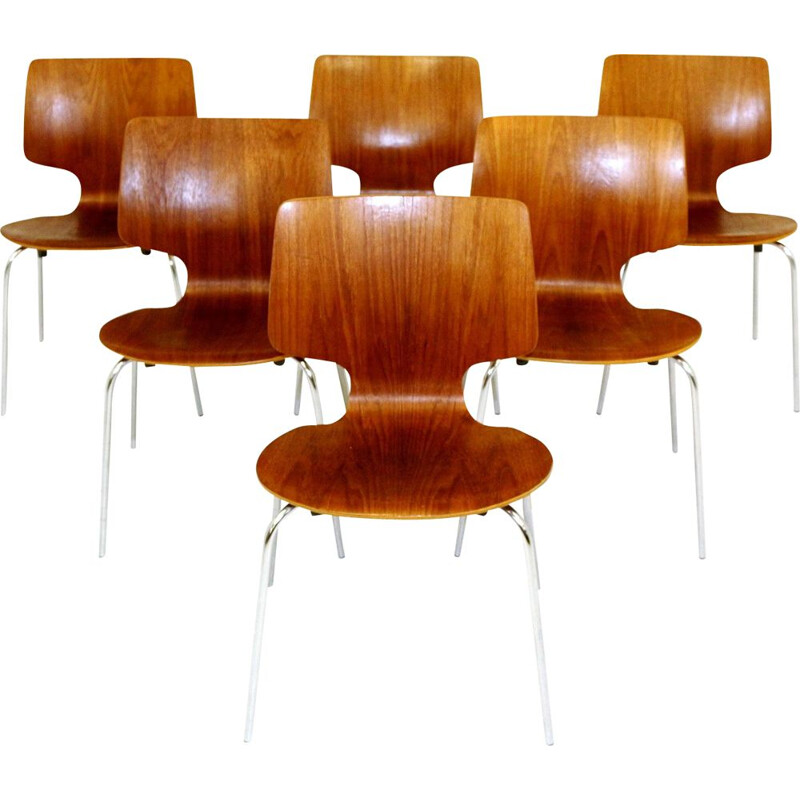 Set of 6 vintage teak and metal chairs Denmark 1970s