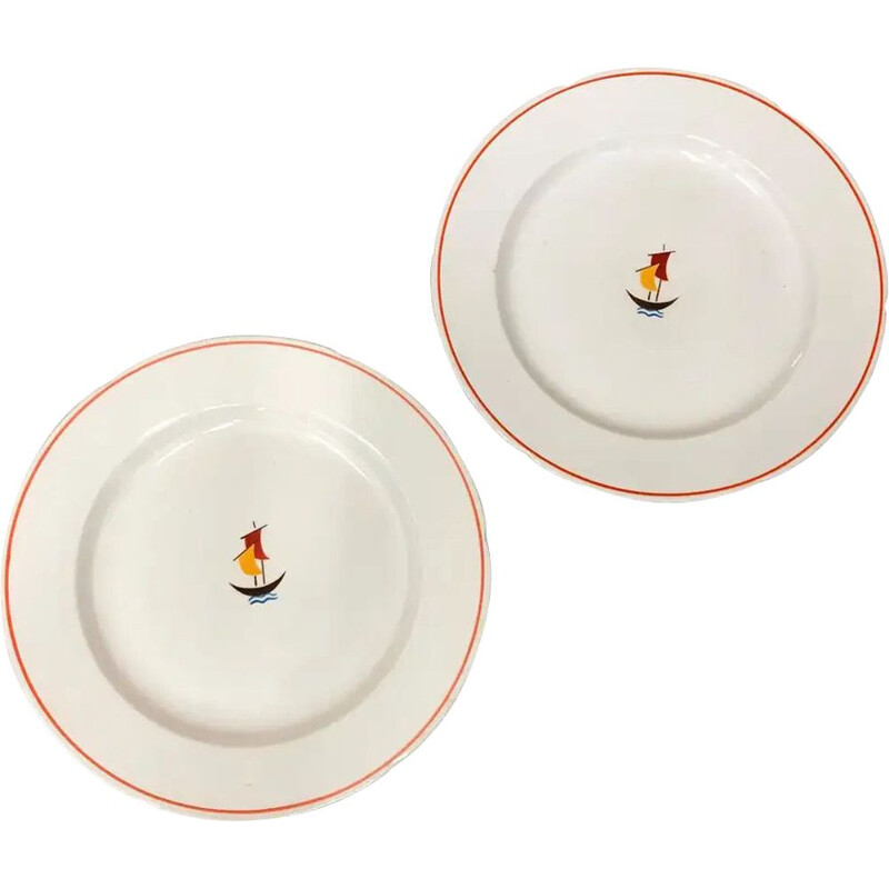 Pair of vintage Ceramic Plates by Gio Ponti for Richard Ginori 1930s