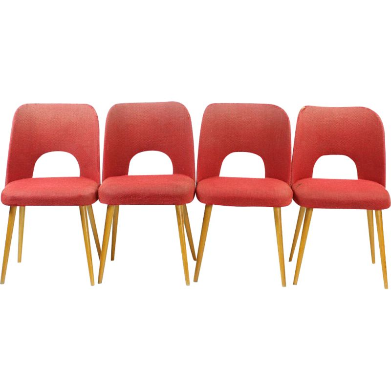 Set of 4 vintage Dining Chairs By Oswald Haerdtl For Ton Czechoslovakia 1950s