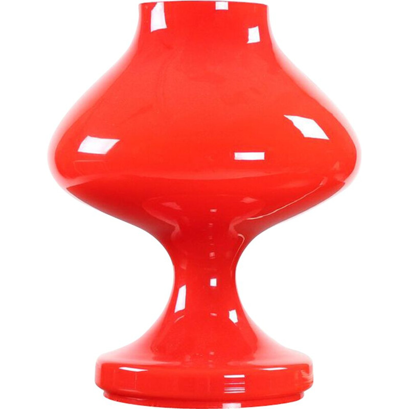 Midcentury Red Opaline Glass Table Lamp By Stefan Tabery For Opp Jihlava 1960s