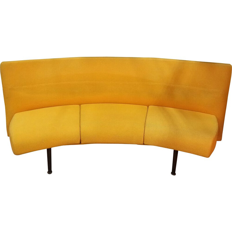 Vintage curved 3-seater sofa in yellow fabric with metal structure1980s