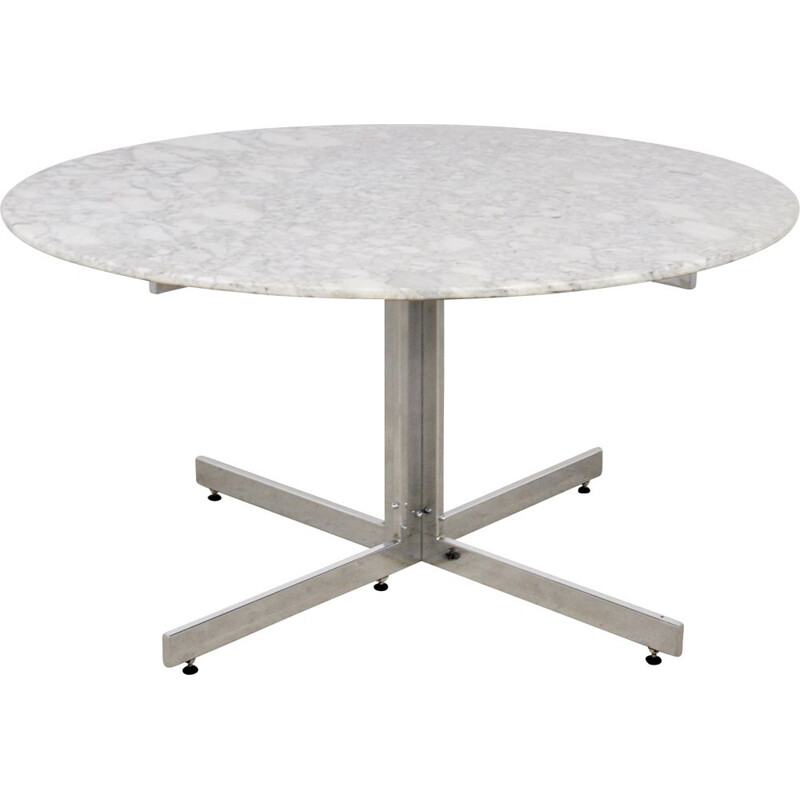 Vintage Carrara Marble Round Dining Table 1970s