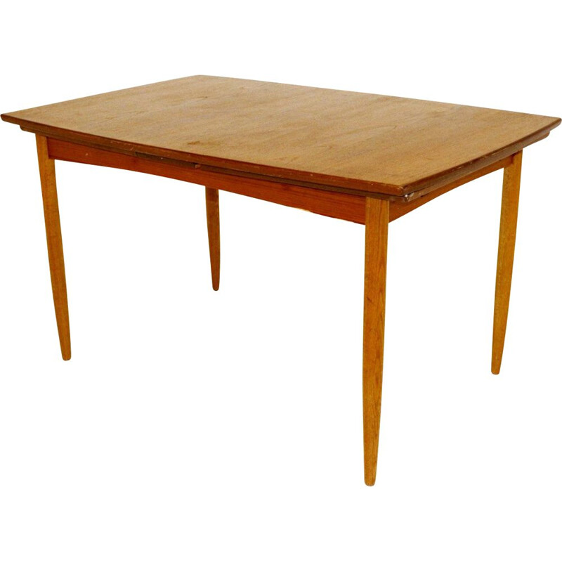 Vintage teak table with retractable tops