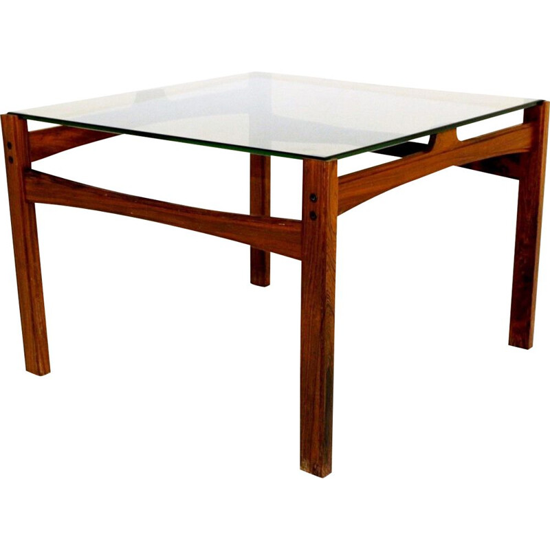 Vintage coffee table in rosewood and smoked glass, Sweden 1960