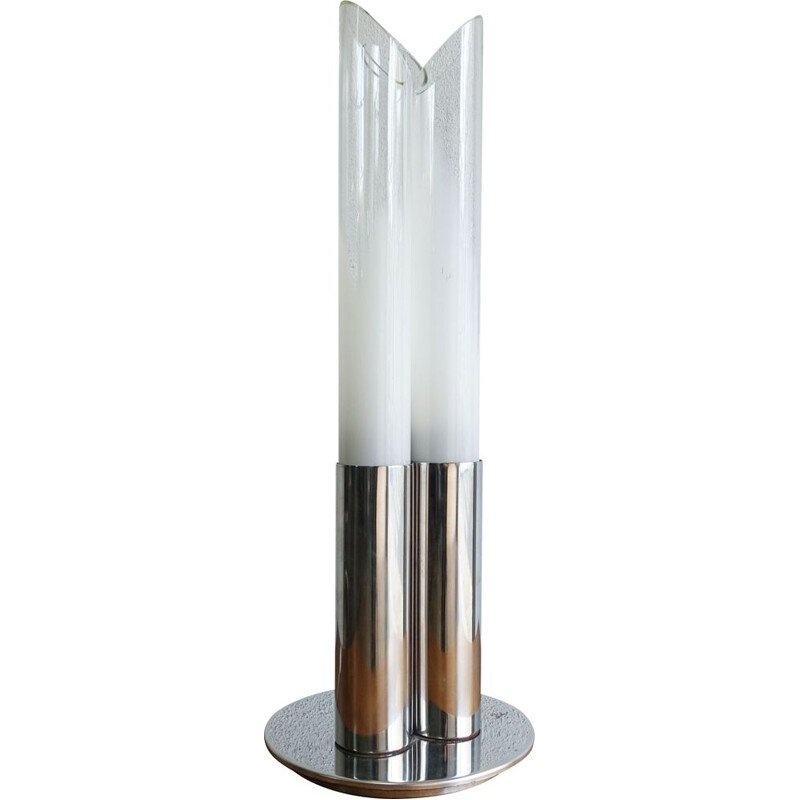 Vintage table lamp in tube by Carlo Nason for Mazegga, Italy 1968