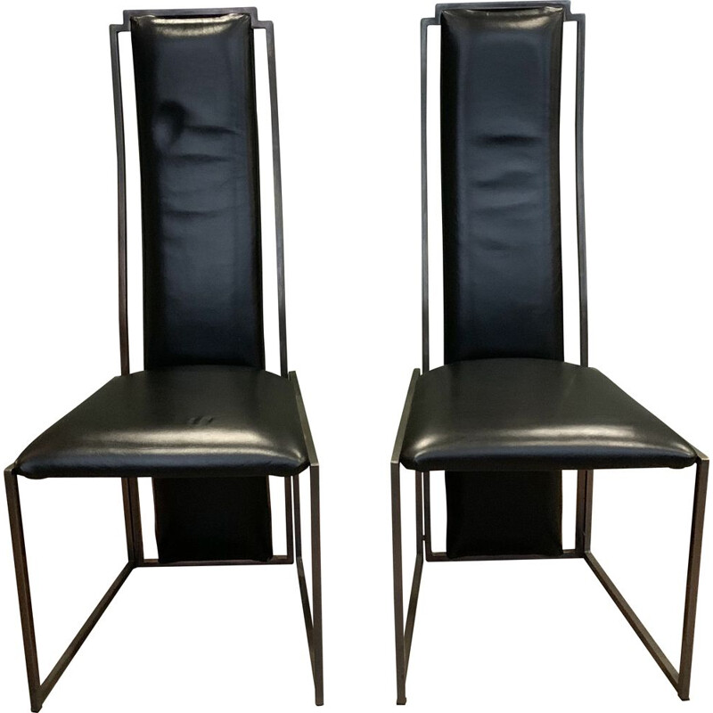 Pair of vintage leather chairs Maison Jansen 1970