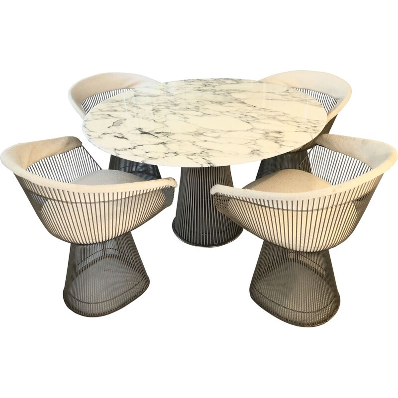 Vintage Warren Platner Ed Knoll Table and 4 Chairs Set 1960s