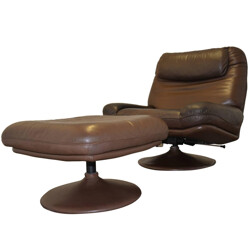 De Sede Lounge Armchair and Ottoman in leather - 1970s