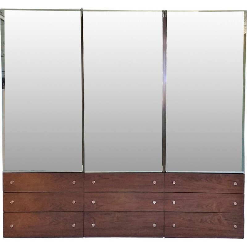 Vintage wardrobe in rosewood and mirrors by René-Jean Caillette France 1960