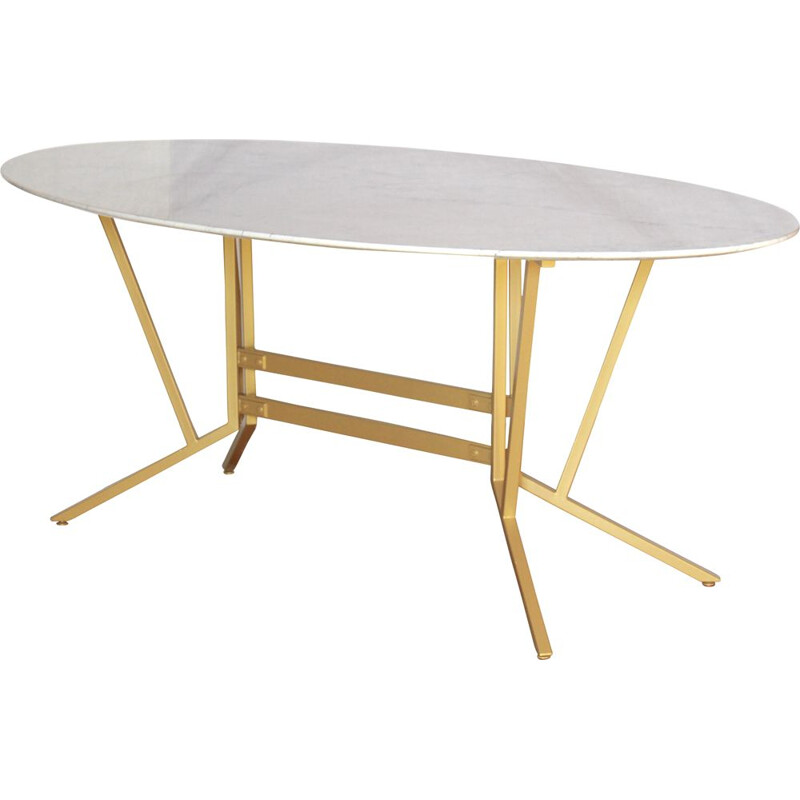 Vintage Dining Table With Carrara Marble Top And Iron Structure Italian 1960s