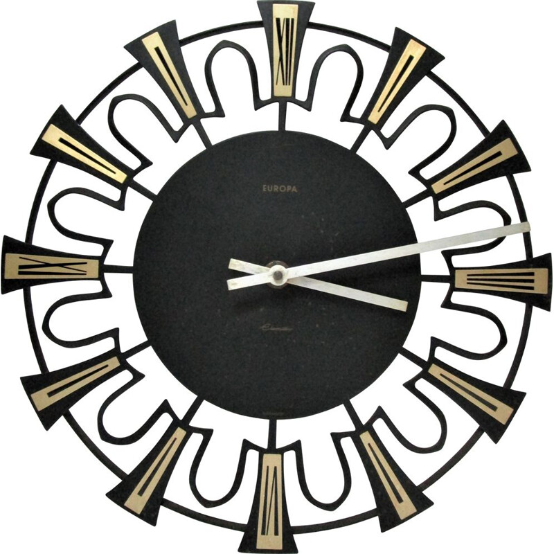 Vintage wall clock black and gold german metal wall clock 1960s