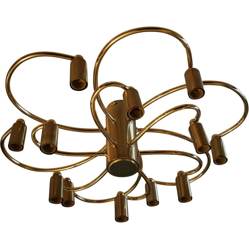 Vintage two-tier brass 12 light chandelier by Helestra 1970s