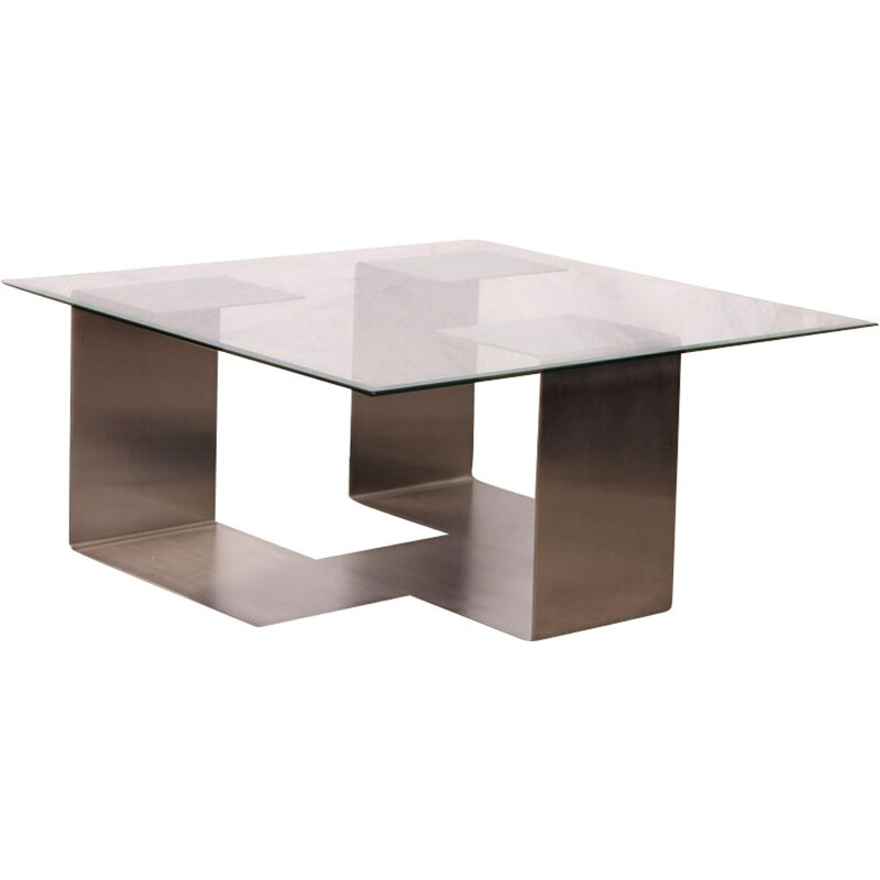 Vintage coffee table in steel and glass Jean-Pierre Mesmin for Bioject 1970s