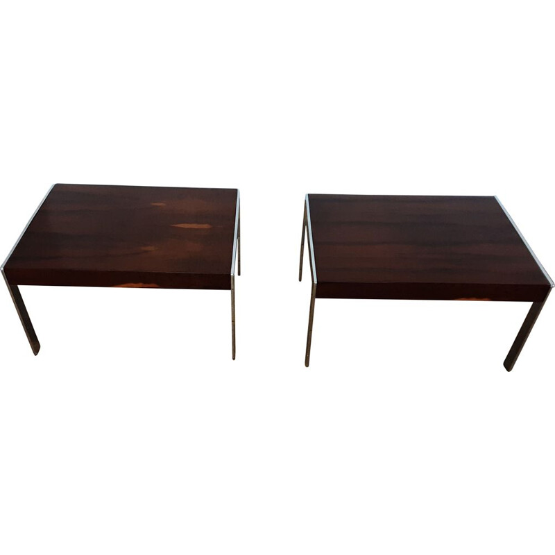 Pair of vintage rosewood and chrome tables by Merrow Associates 1970s