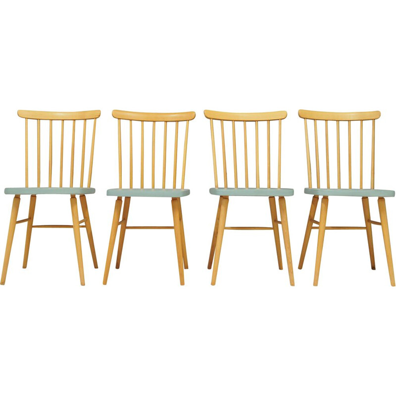 Set of 4 vintage beech chairs Denmark 1970s