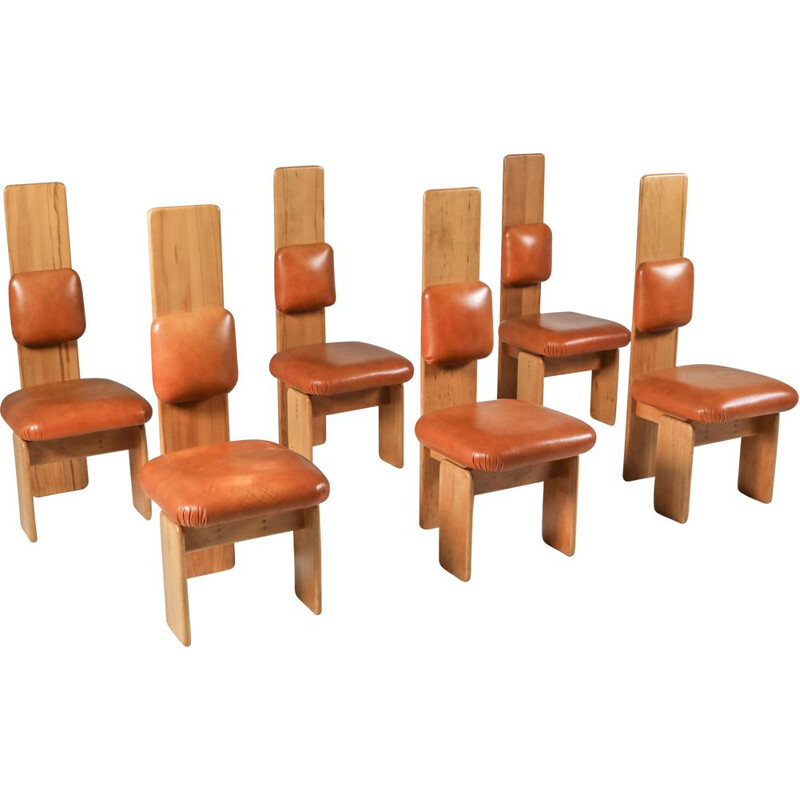 Set of 6 vintage Beech and Leather Dining Chairs by Mario Marenco Italy 1970s