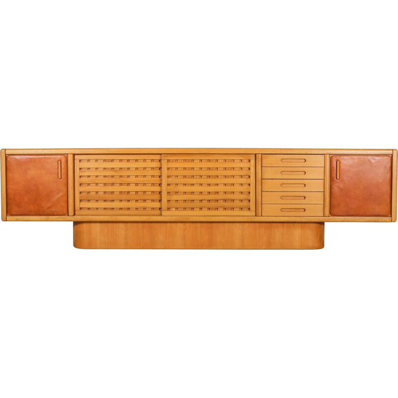 Vintage Beech and Leather Sideboard by Mario Marenco Italy 1970s