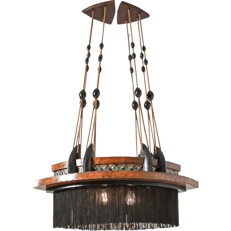 Vintage Amsterdam School Chandelier in Ebony Carved Wood Glass in Lead and Silk 1920s
