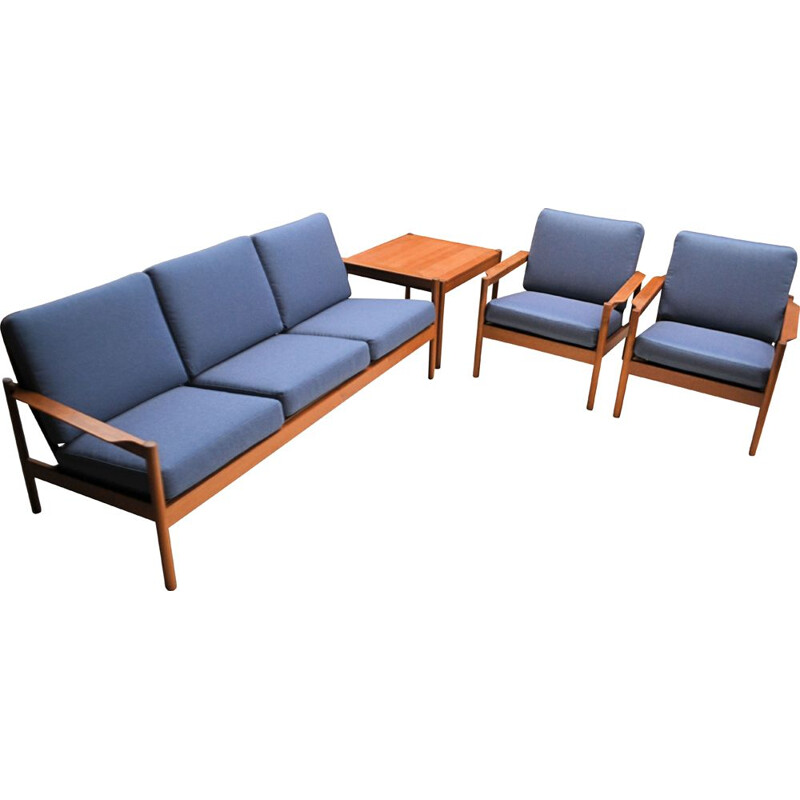 Vintage Kai Kristiansen teak seating group Danish 1960s