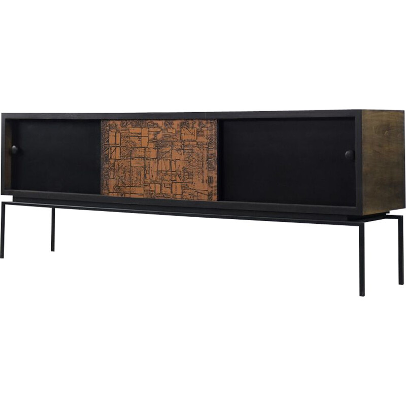 Mid-Century Modern Walnut Sideboard with Copper Front Italian 1970s