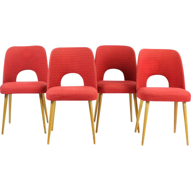 Set of 8 vintage Dining Chairs By Oswald Haerdtl For Ton Czechoslovakia 1950s