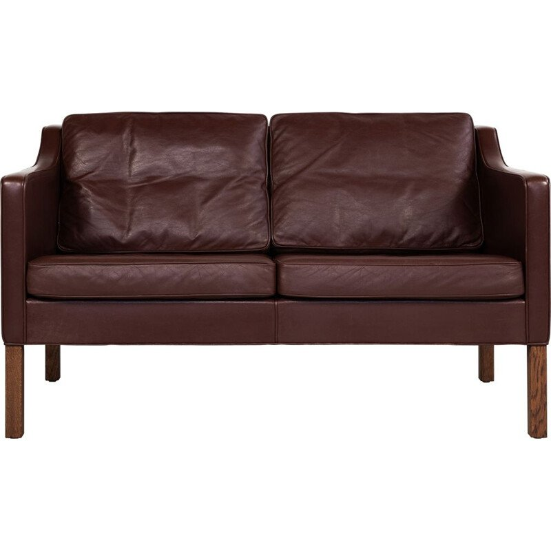 Midcentury 2-seater sofa in leather by Børge Mogensen for Fredericia Danish 1960s
