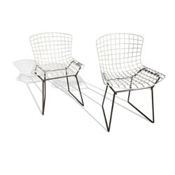 Pair of Knoll child chairs in steel, Harry BERTOIA - 1970s