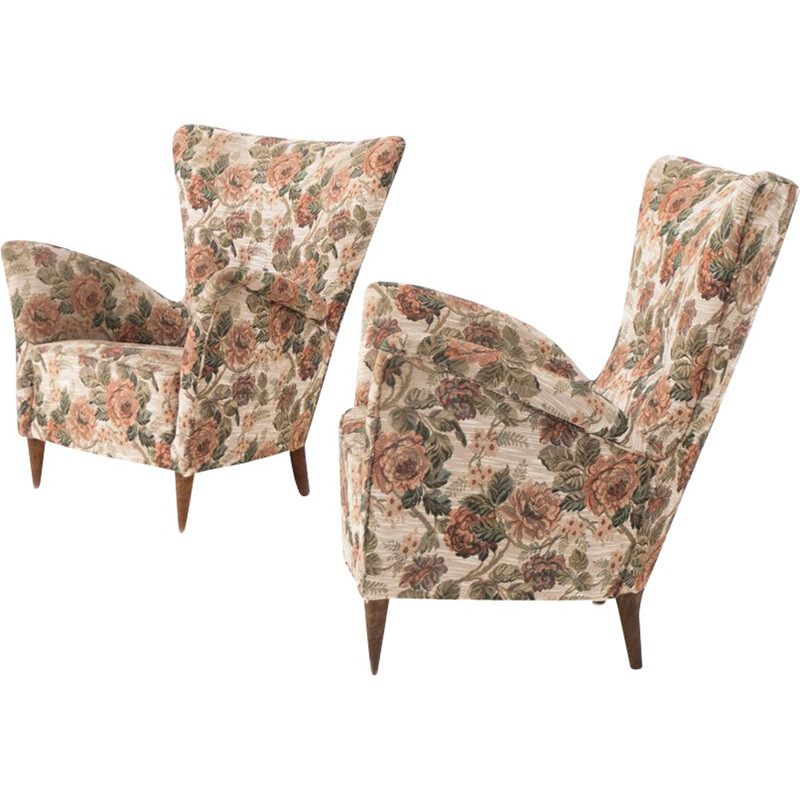 Pair of Italian armchairs in fabric - 1950s