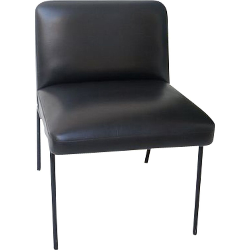 Vintage Black faux leather armchair Meurop