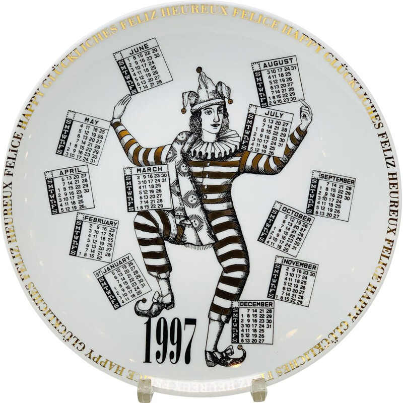 Vintage Piero Fornasetti Calendar Porcelain Plate for the Year 1997s