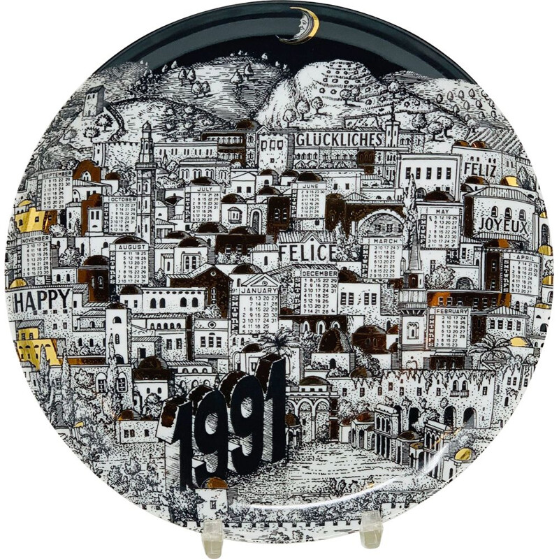 Vintage Piero Fornasetti Calendar Porcelain Plate for the Year 1991s