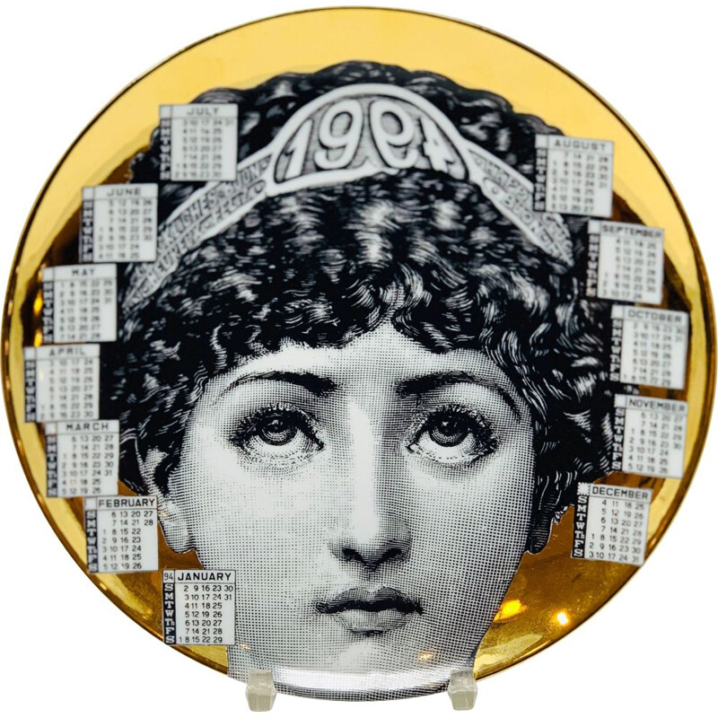 Vintage Piero Fornasetti Calendar Porcelain Plate for the Year 1994s