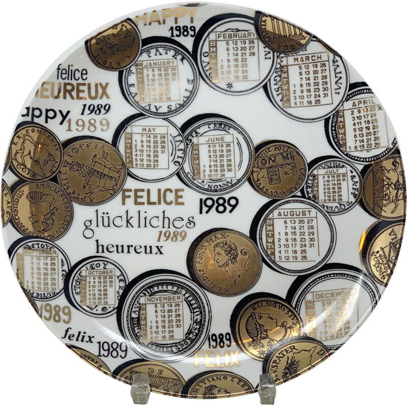 Vintage Piero Fornasetti Calendar Porcelain Plate for the Year 1989s