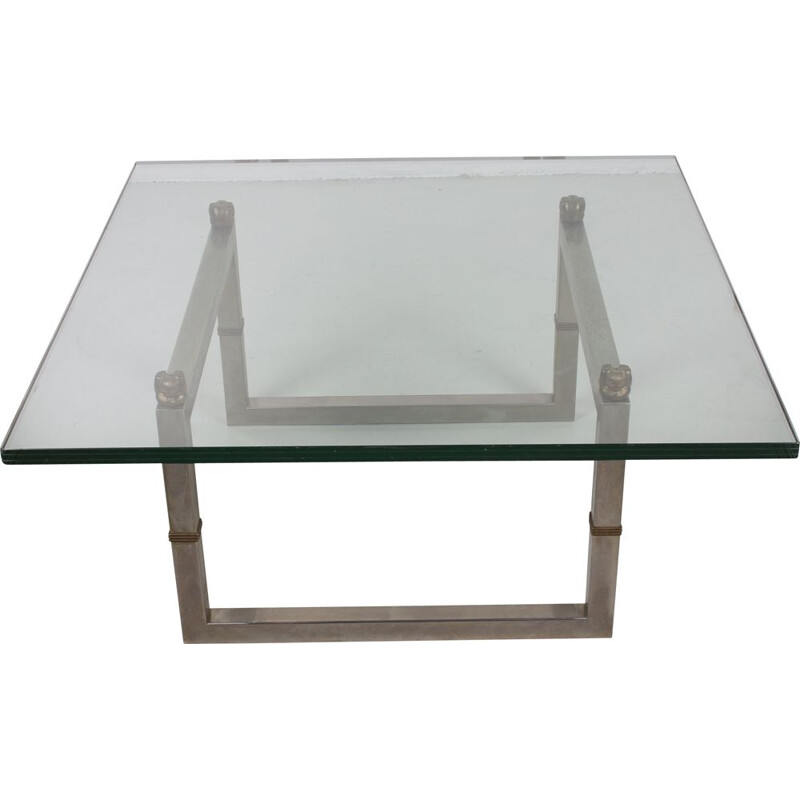 Vintage glass coffee table with stainless steel frame Biri T29 Peter Ghyczy