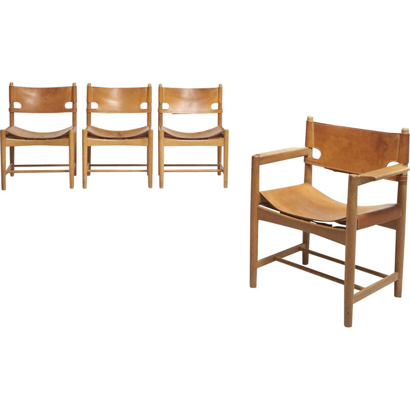Set of 4 vintage 'Hunting' Chairs by Børge Mogensen for Fredericia Stølefabrik, Denmark, 1951