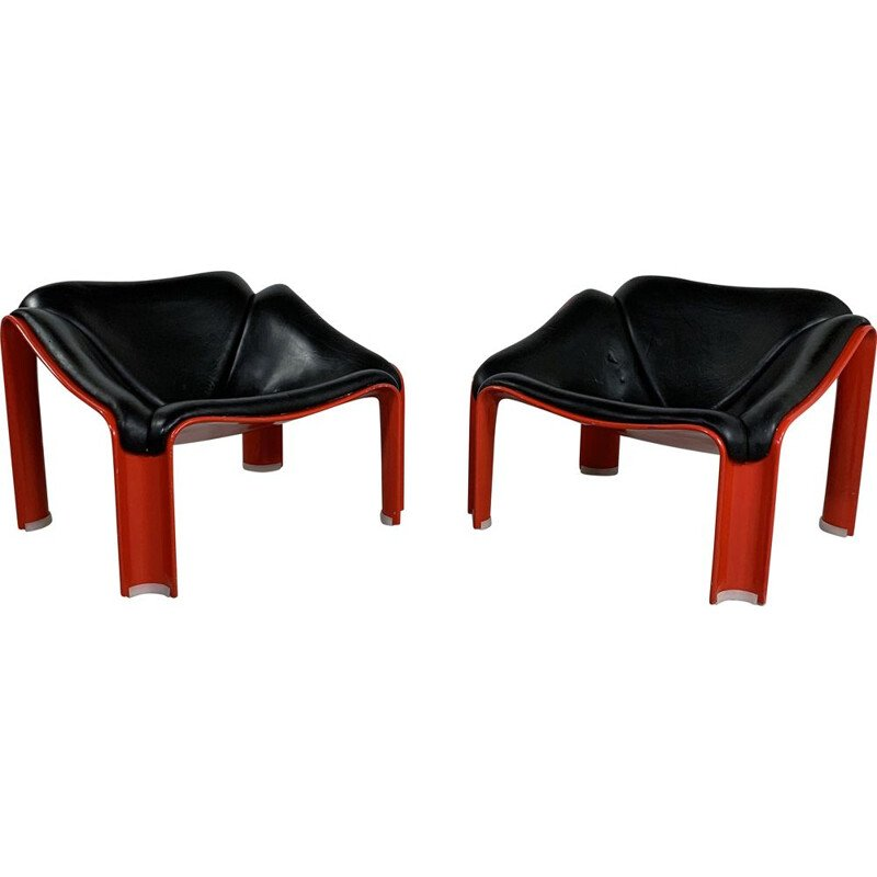 Pair of vintage F300 Lounge Chairs in Leather by Pierre Paulin for Artifort, 1960s