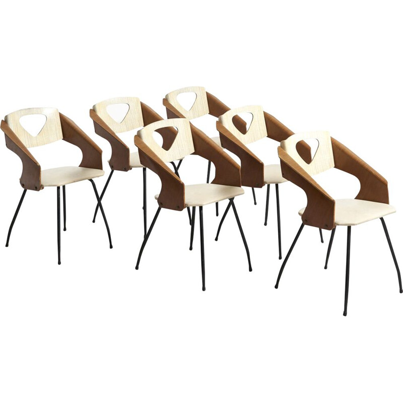 Set of 6 vintage Dining Chairs by Carlo Ratti for Industrial Legni Curva, Italy 1950s