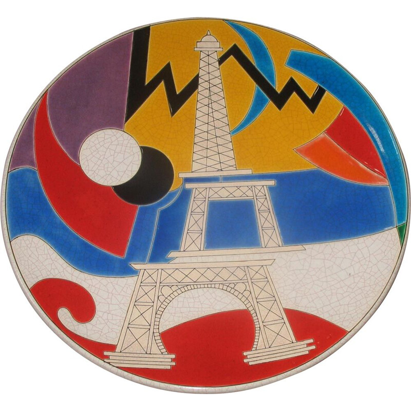 Vintage dish longwy Eiffel Tower by Curetti Danillo 1980s