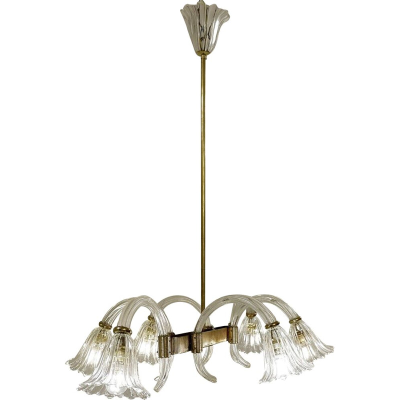 Vintage 6 arms lamp Ercole Barovier Murano 1930s