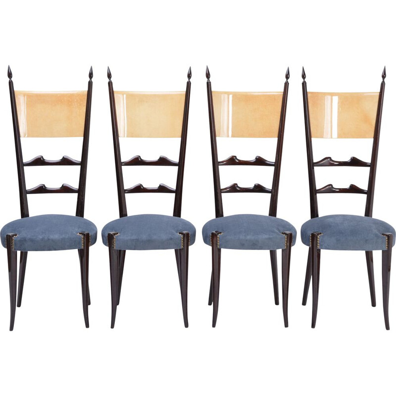 Set of 4 vintage Aldo Tura high back dining chairs