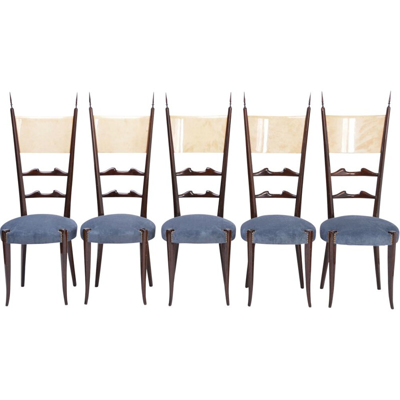 Set of 5 vintage Aldo Tura high back dining chairs